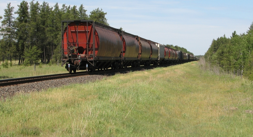 Perspective of freight train on railway in summer (source: pixy.org).